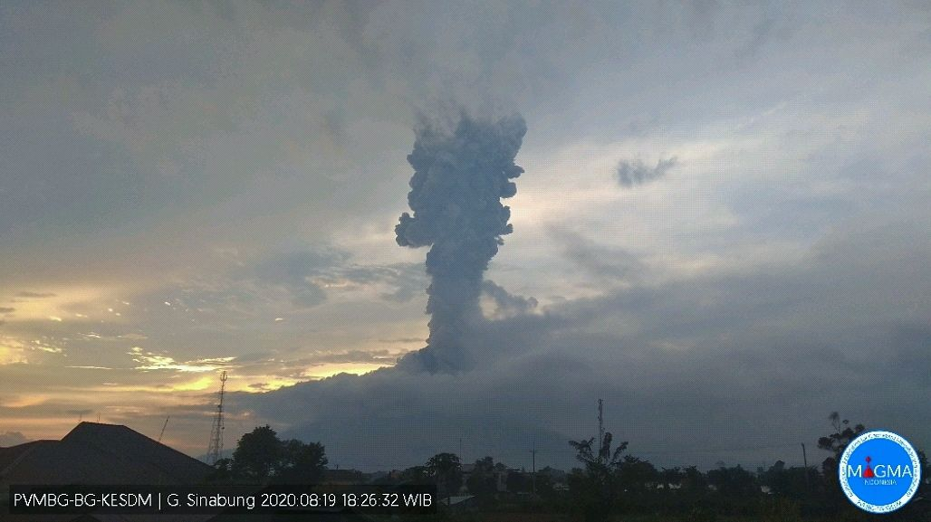 Sinabung - eruption of 08/19/2020 / 6:26 p.m. WIB - Doc. Magma Indonesia