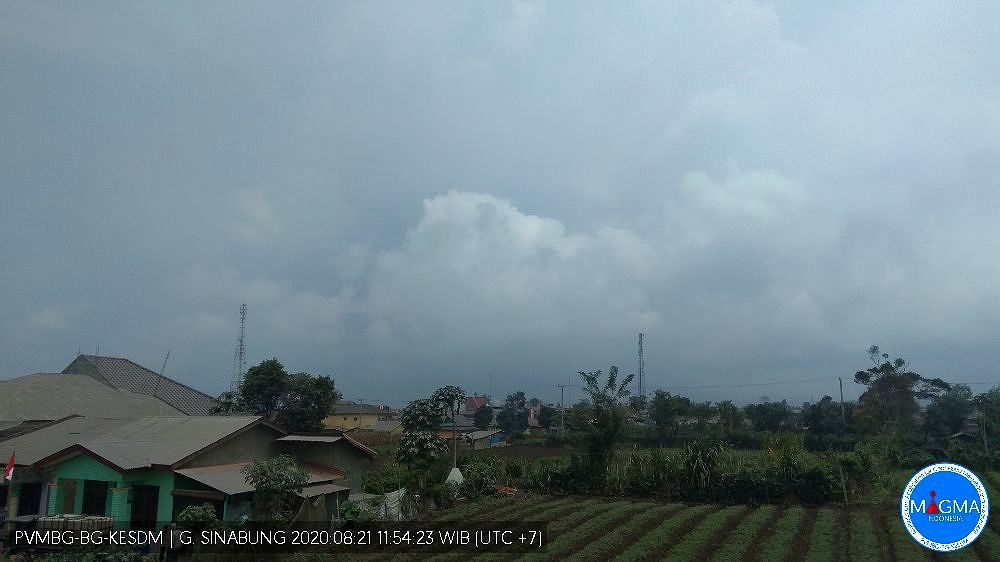 Sinabung - plume and clouds merge this 21.08.2020 / 11.54 am local - Doc. webcam PVMBG / Magma Indonesia