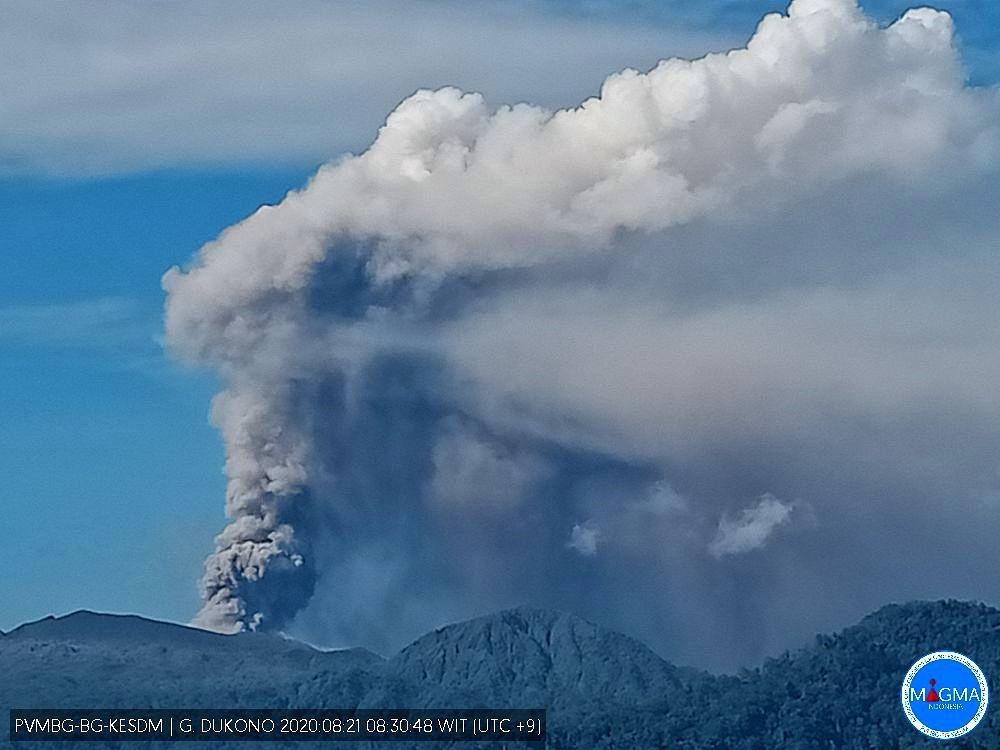 Dukono - activity from 08/21/2020 / 8:30 am - Doc. PVMBG / Magma Indonesia