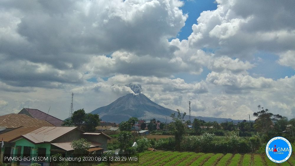 Sinabung - eruption on 08/25/2020 at 1:22 p.m. WIB (800m high plume hidden by clouds) - PVMBG webcam