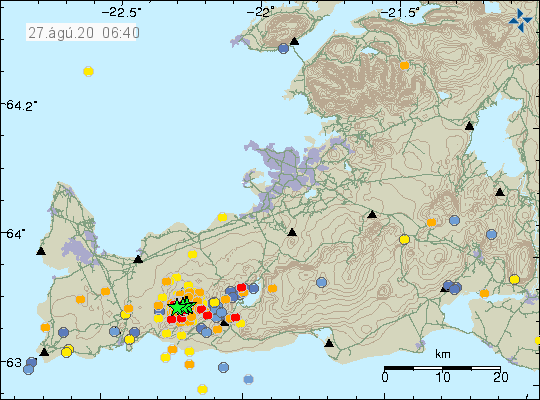 Reykjanes Peninsula - location and magnitude of earthquakes as of 08/27/2020 / 6:40 a.m. - Doc. IMO