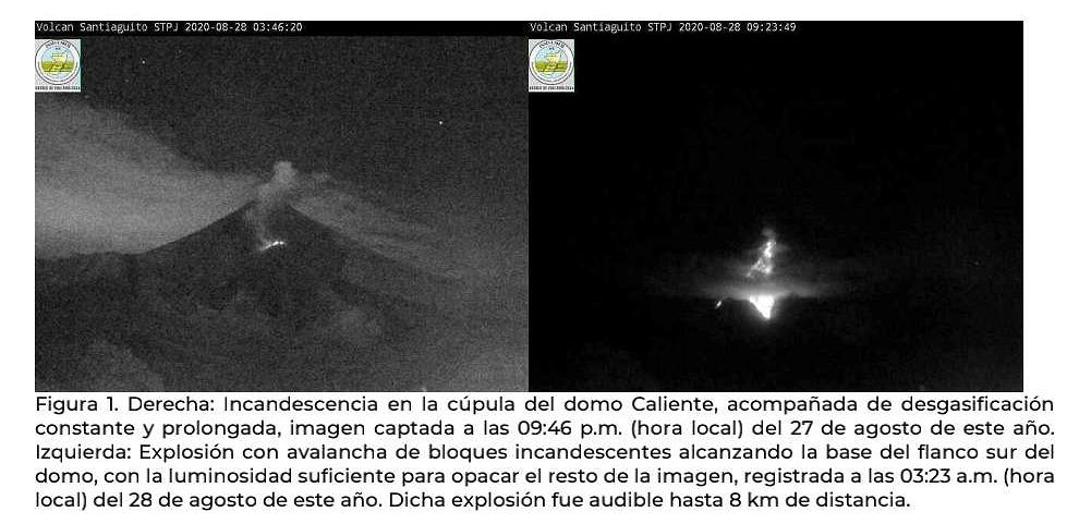 Santiaguito - A: incandescence of the Caliente dome and degassing / photo 08/27/2020 at 9:46 p.m. local - B: explosion and avalanche of incandescent blocks on 08/28/2020 / 3:23 local - Doc. Insivumeh - one click to enlarge