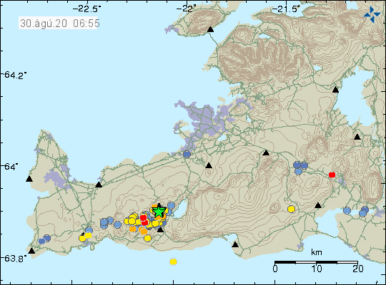 Reykjanes Peninsula - location and magnitude of earthquakes as of 08/30/2020 / 6:55 am - Doc. IMO