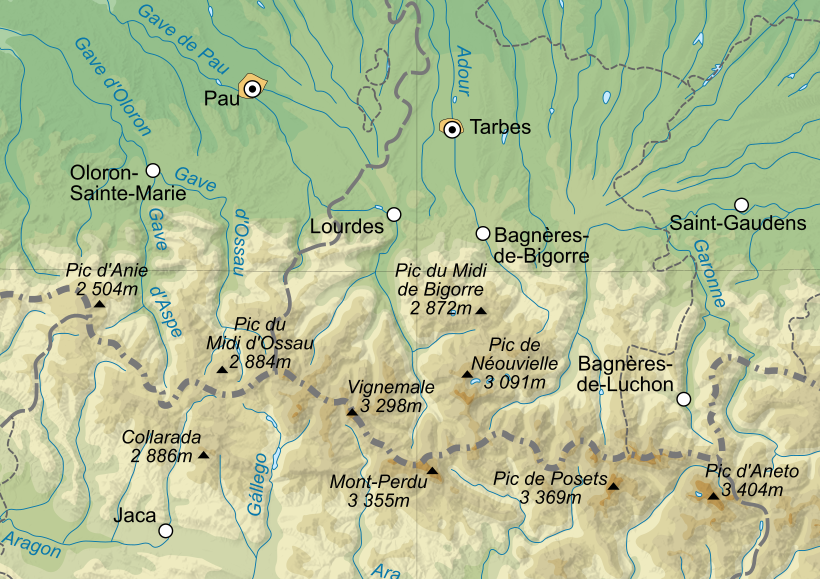 Carte topographique de l'ouest des Pyrénées centrales. - Doc. Capbourrut