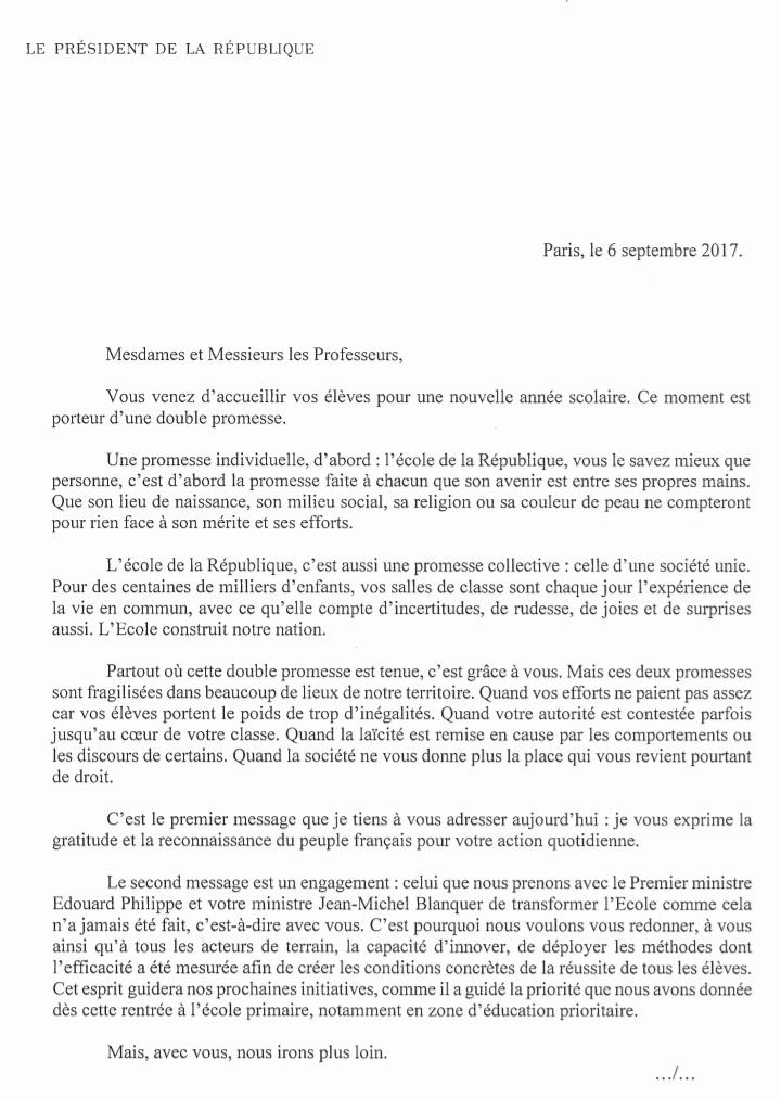 Emmanuel Macron écrit aux enseignants