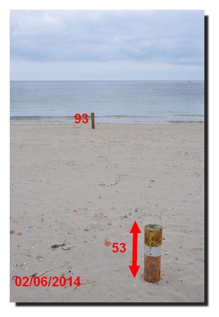 Le trait de côte, le sable toujours bien présent