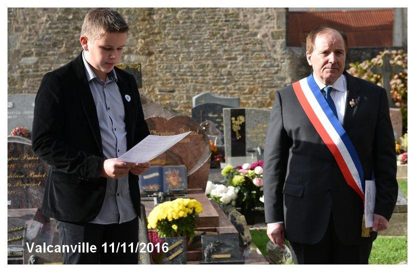 Valcanville : commémoration armistice 1918