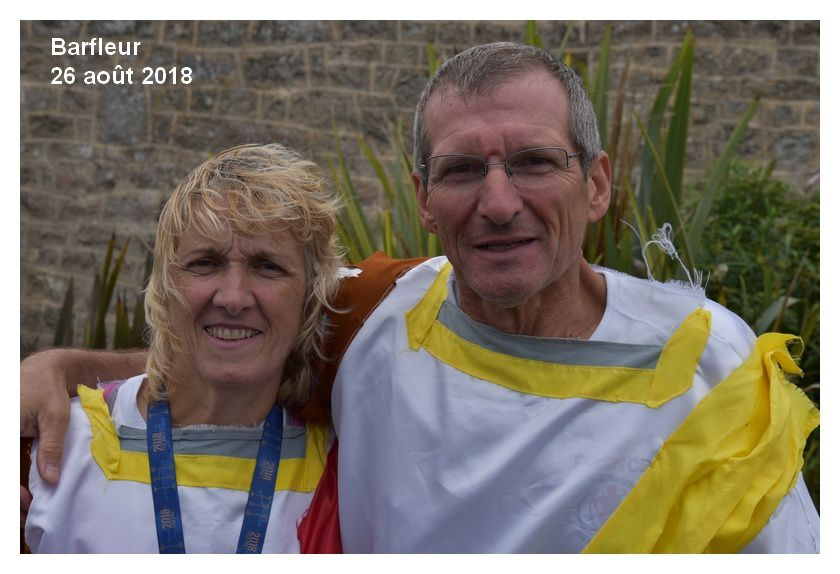 Chantal et pascal à l'issue du marathon de la Pointe de Barfleur