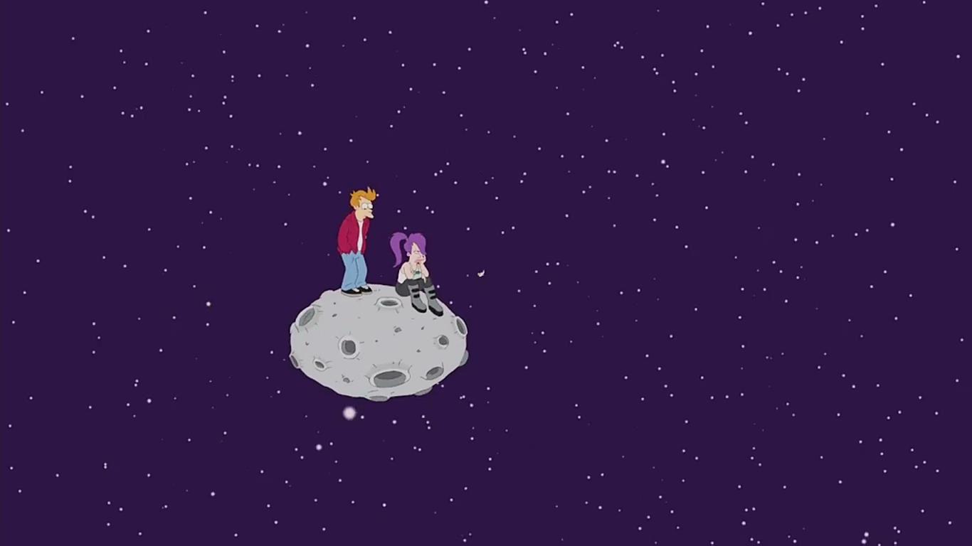 Futurama, je cherchais l'image où les protagoniste de Futurama finissaient sur un astéroïde-point de vue panoramique avec indiqué le panneau, THE LIMIT OF THE UNIVERSE