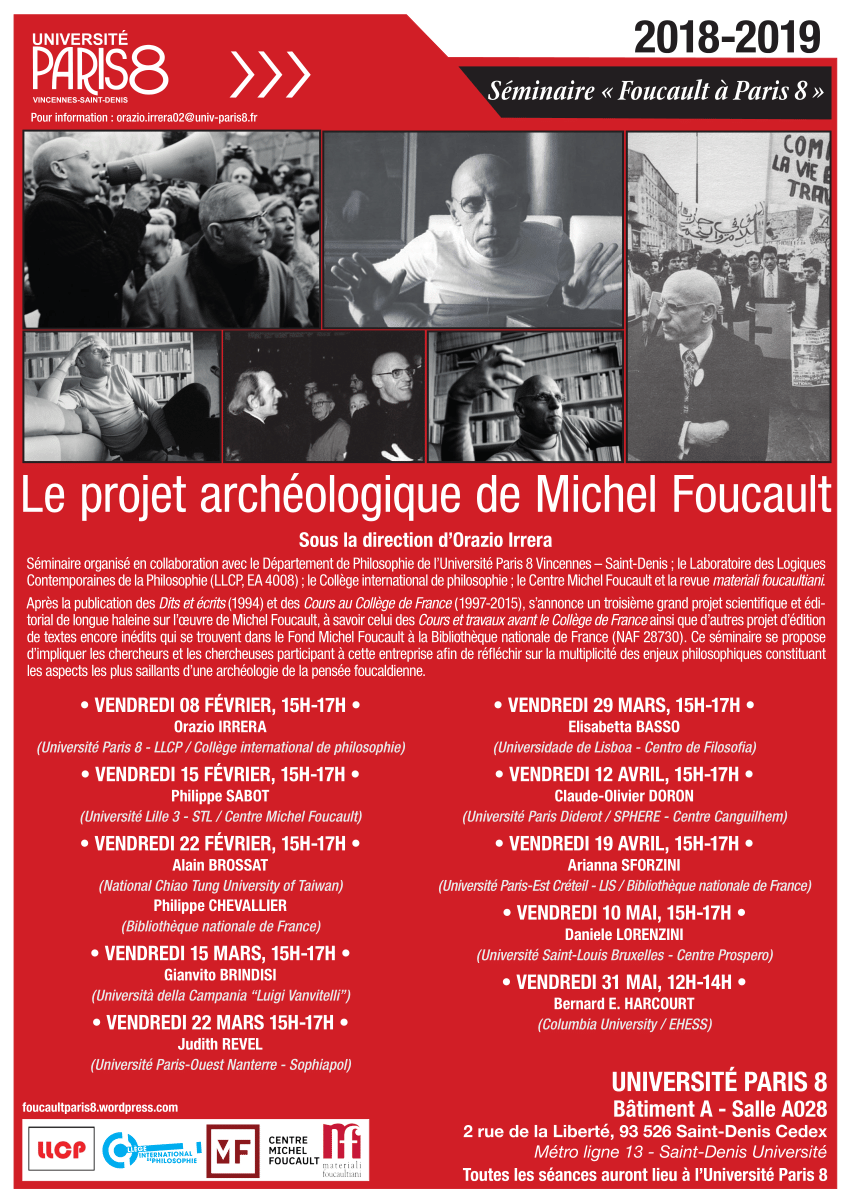 SEMINAIRE PARIS 8 / Le projet archéologique de Michel Foucault