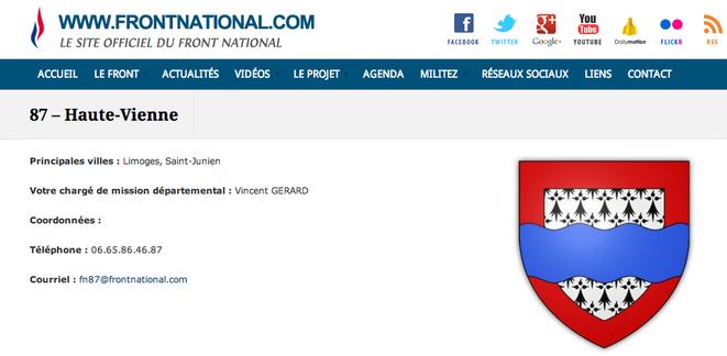 Sur le site du FN, Vincent Gérard apparaît toujours comme secrétaire départemental de la Haute-Vienne.© Site du Front national.
