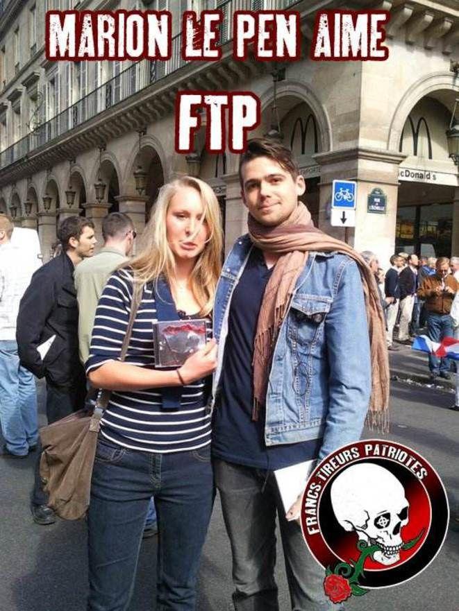 Marion Maréchal-Le Pen lors d'un défilé du 1er-Mai du FN, rue de Rivoli, à Paris, avec le rappeur d'extrême droite Fasc.© Reflexes