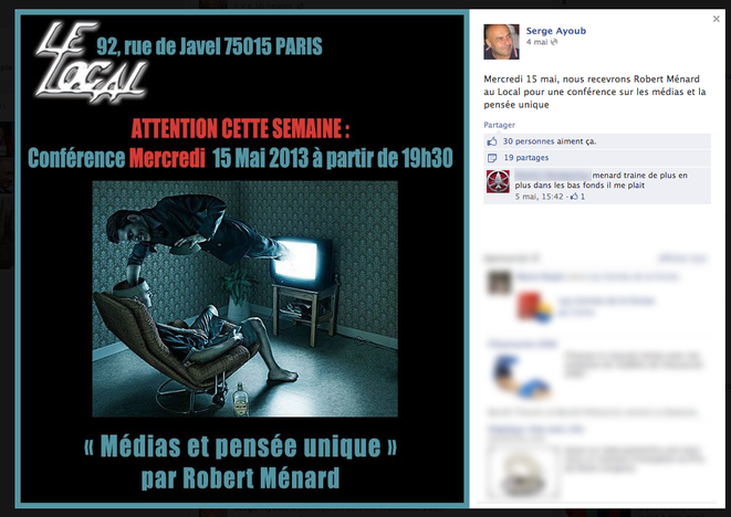 Sur le compte Facebook de Serge Ayoub.