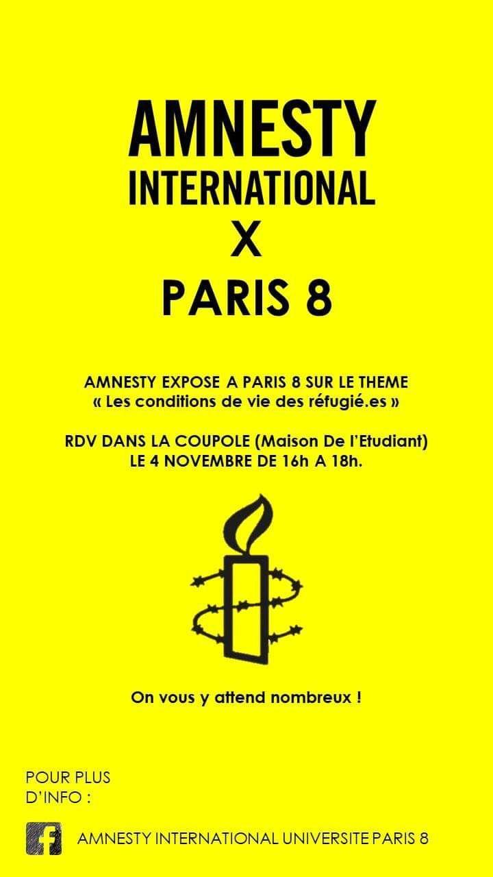 INFOS PARIS 8 / Exposition sur la situation des réfugié.e.s en France et dans le monde