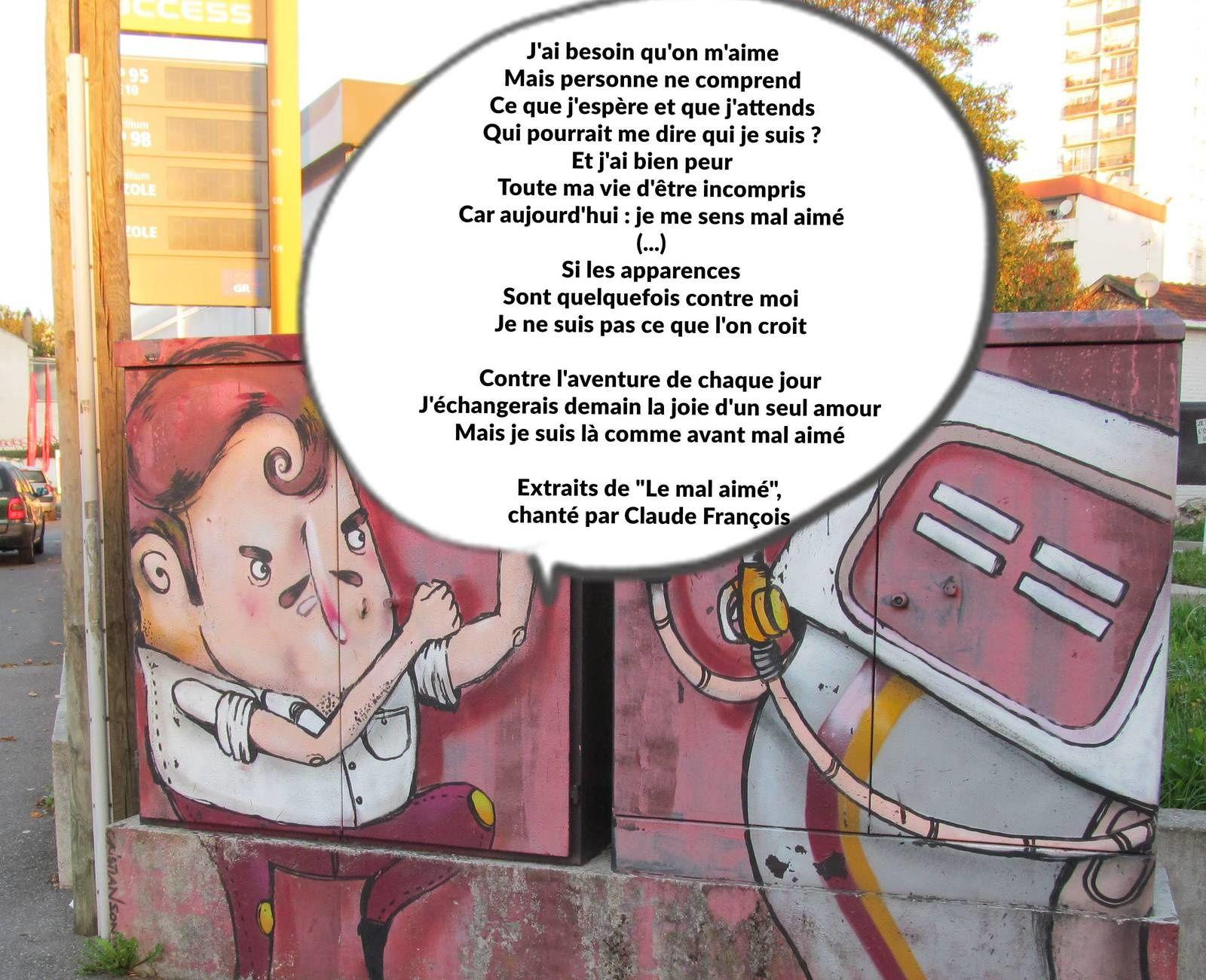 """(c) Vincent Gollain - extraits des paroles """"Le mal aimé"""" de Claude François"""