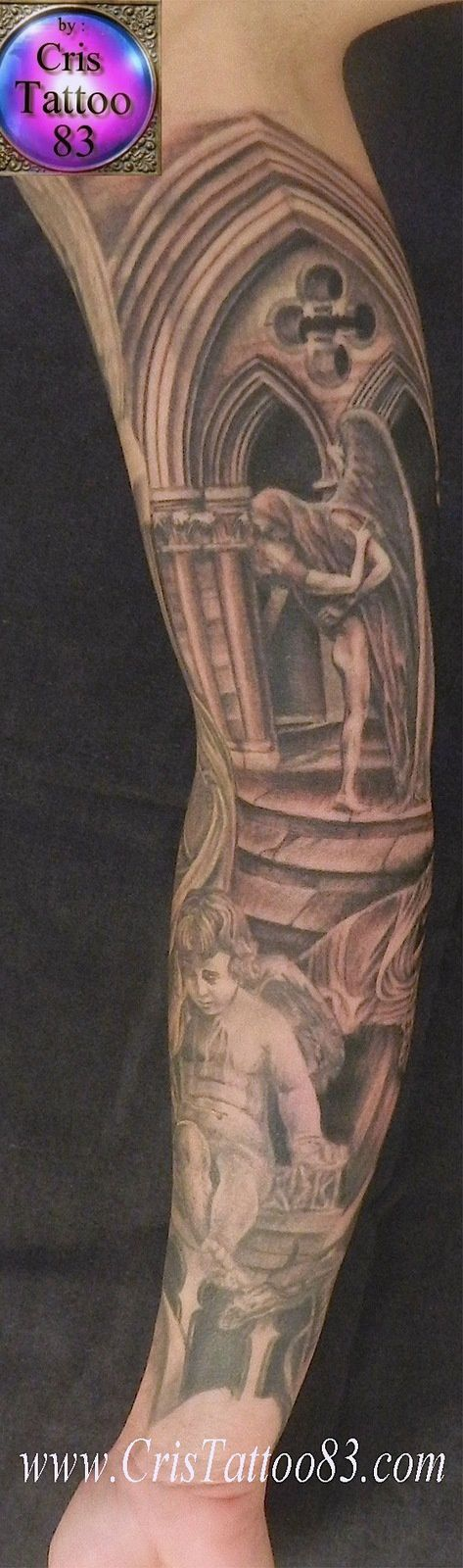 bras tatoué anges cimetière