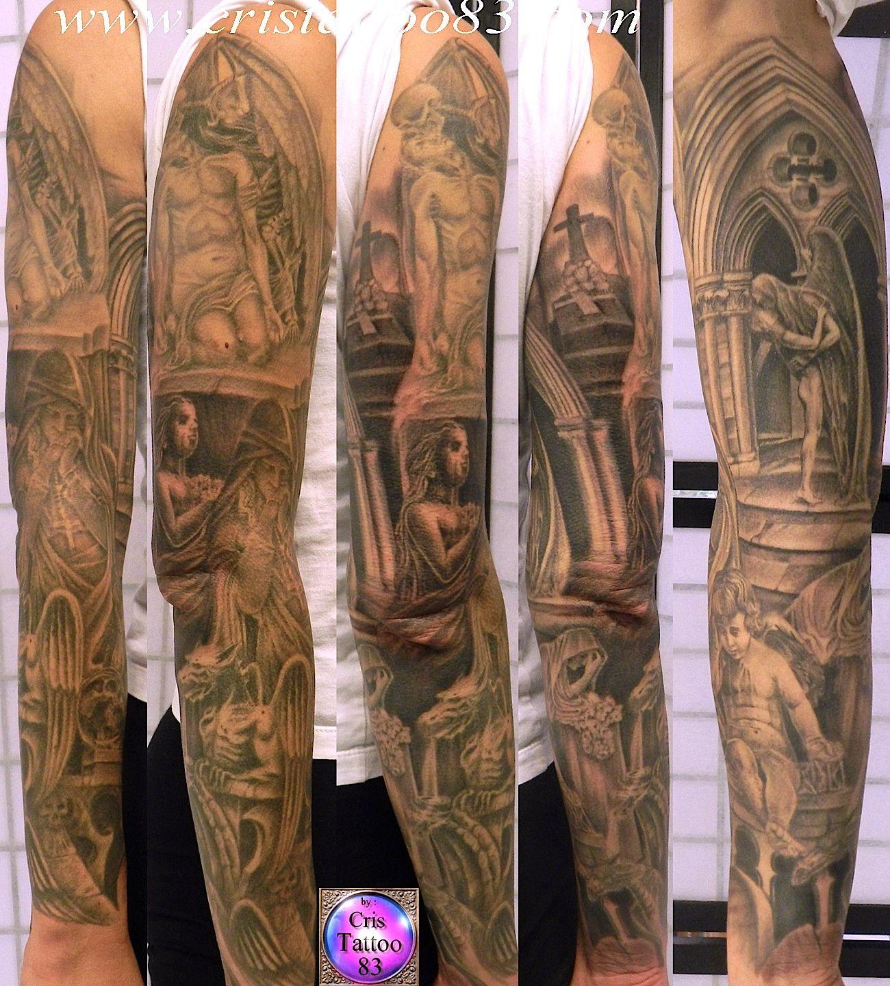 tatouage-bras-complet-cimetiere