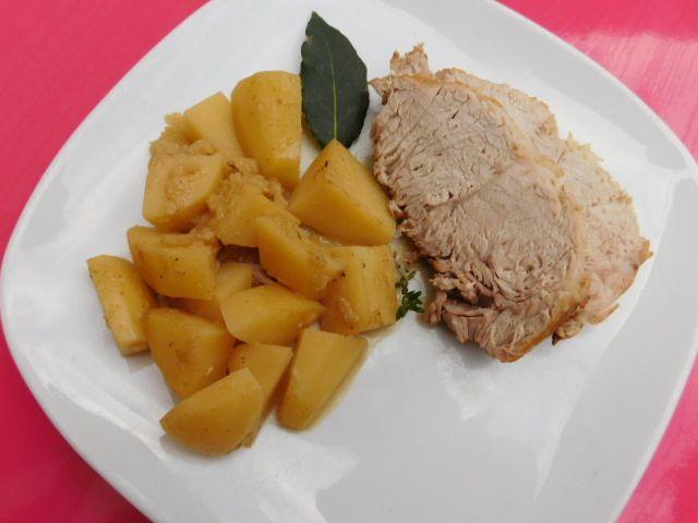 Rôti de porc aux pommes et au cidre.