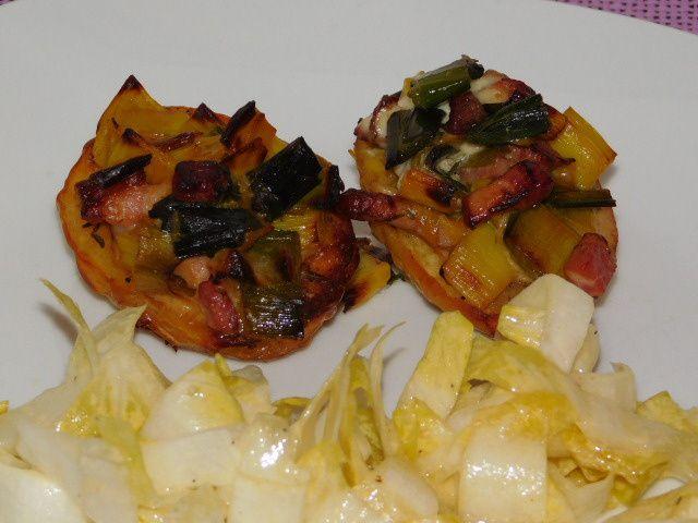 Pommes de terre farcies aux poireaux et au raifort.