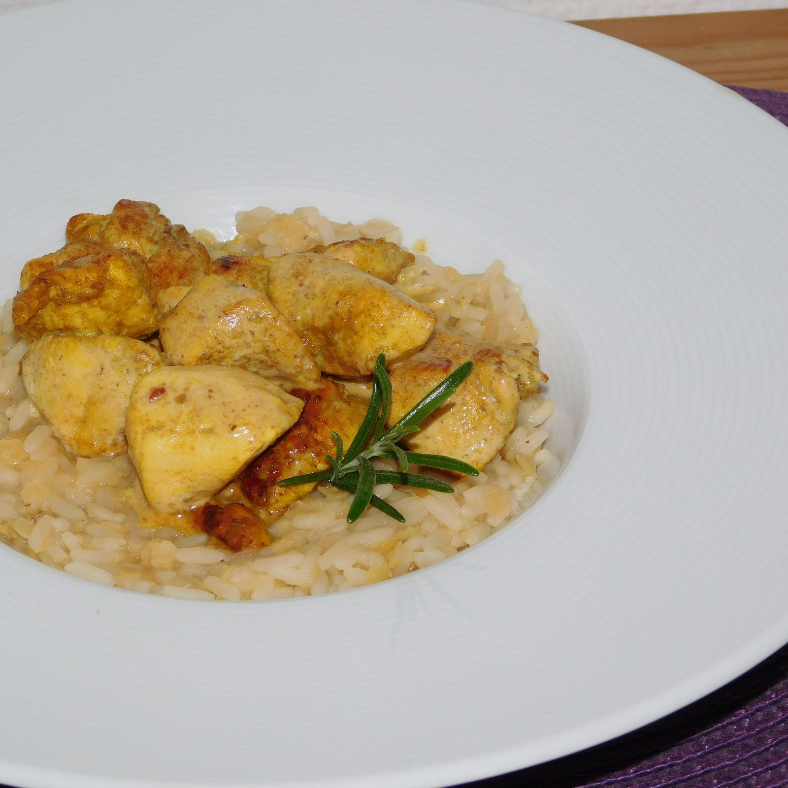 Poulet au citron et au curry.