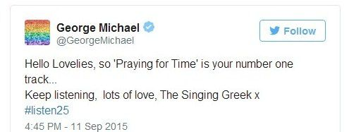 George Michael Today and Twitter #Listen25 !!