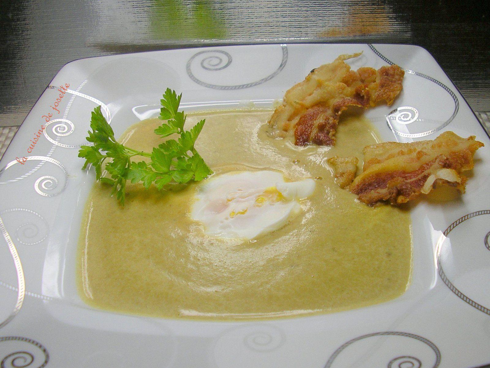 velouté de lentilles vertes du puy a la ventrèche et œuf poché