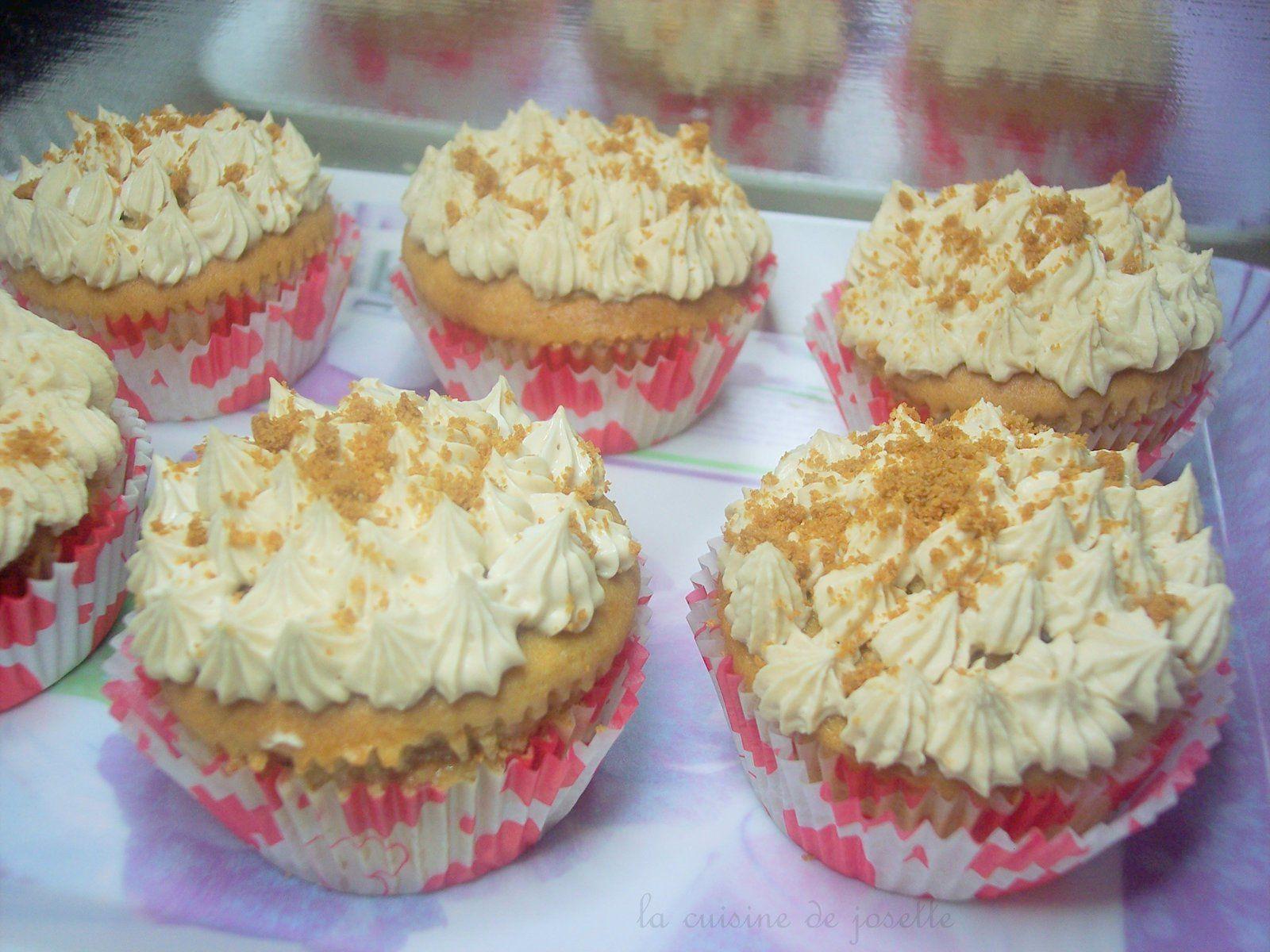cupcake au speculoos,coeur de framboise