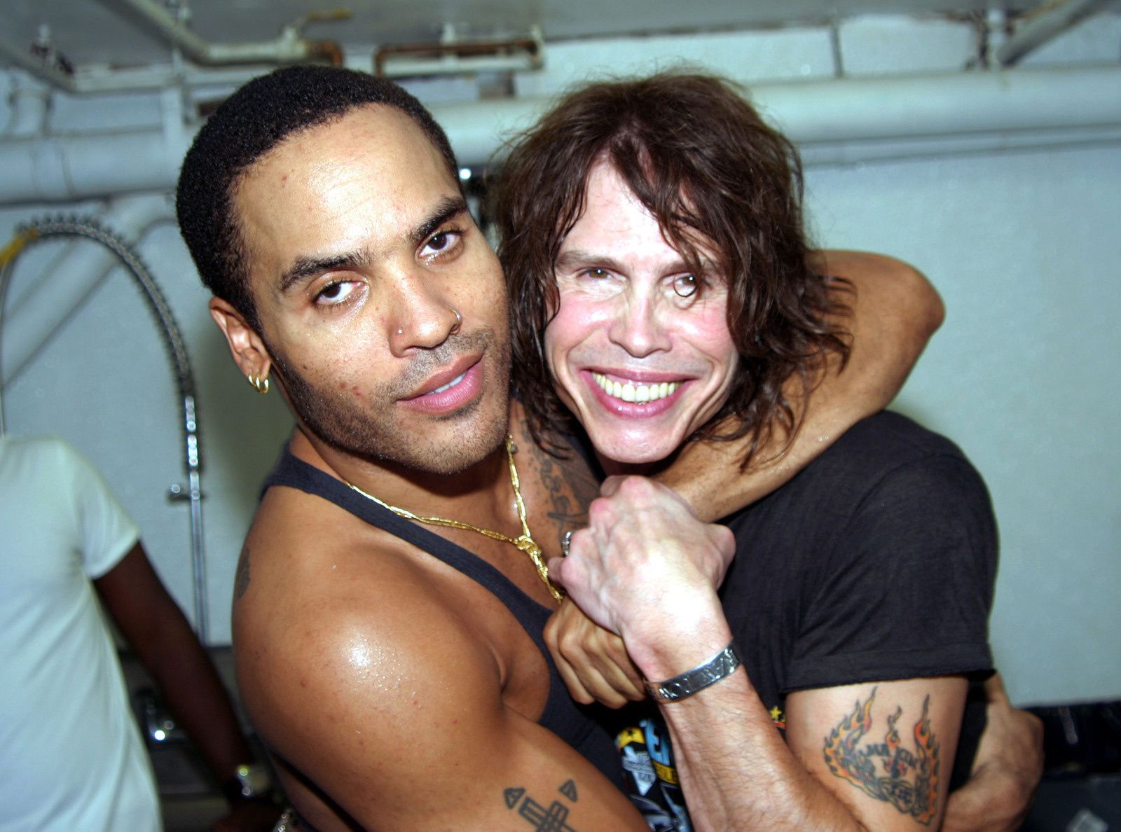 Lenny Kravitz and Steven Tyler during KOS Opening Party at KOS in New York City, NY, US. (Photo by Johnny Nunez/WireImage)