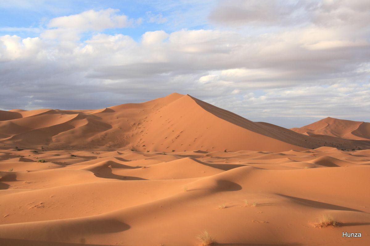 Lumière du matin sur les dunes de Merzouga