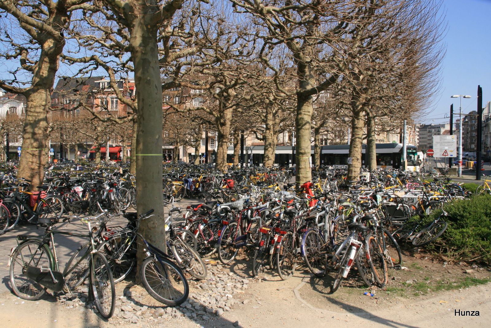 Des centaines de vélos près de la gare