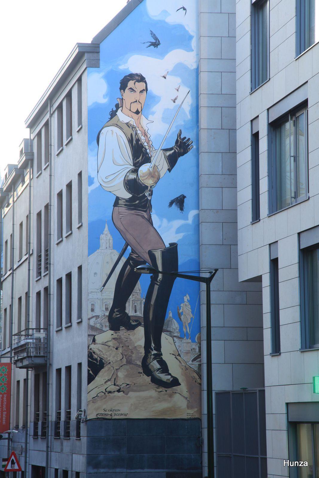 Bruxelles, fresque murale le scorpion de Marini et Desberg