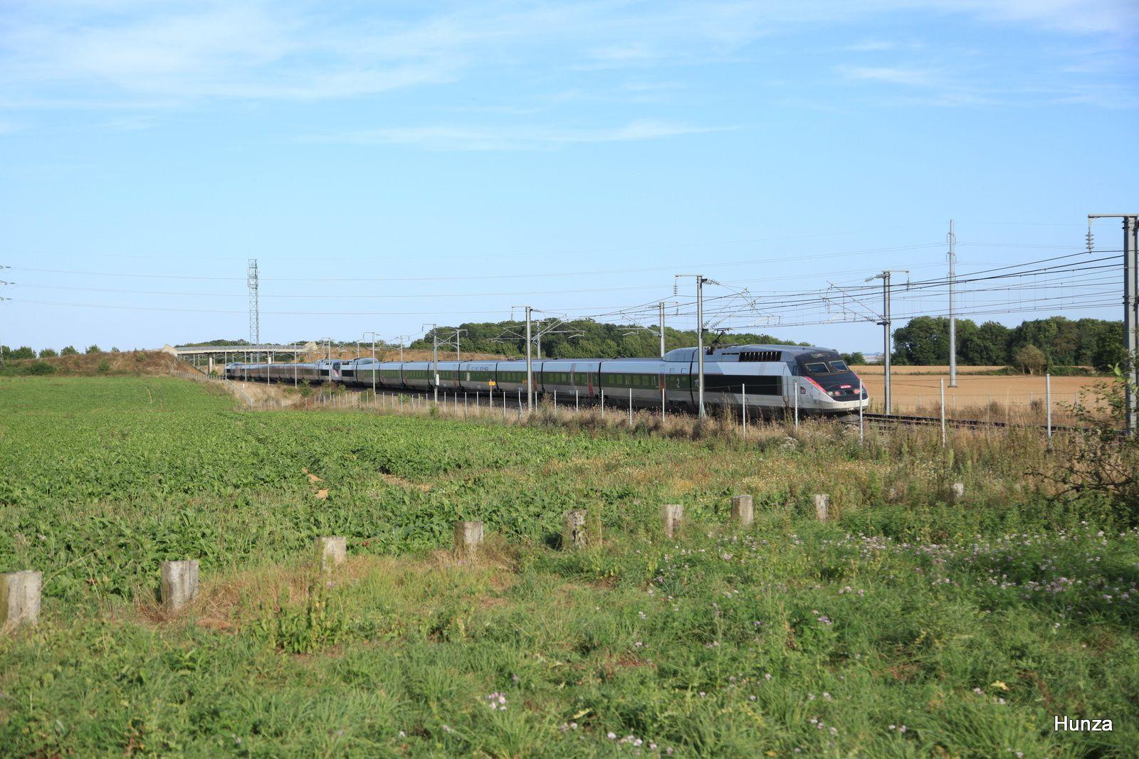 TGV Réseau en UM au pk 27 sur la LGV Est près de Meaux (10 septembre 2016)