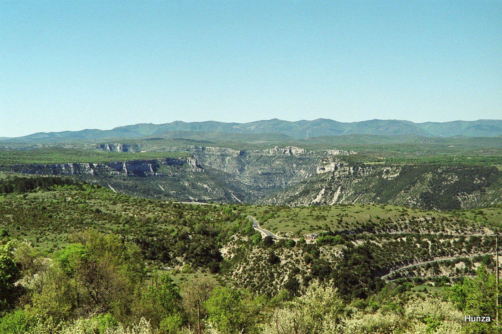 Avant d'arriver à St-Maurice de Navacelles, panorama sur les gorges de la Vis et le massif du Lingas
