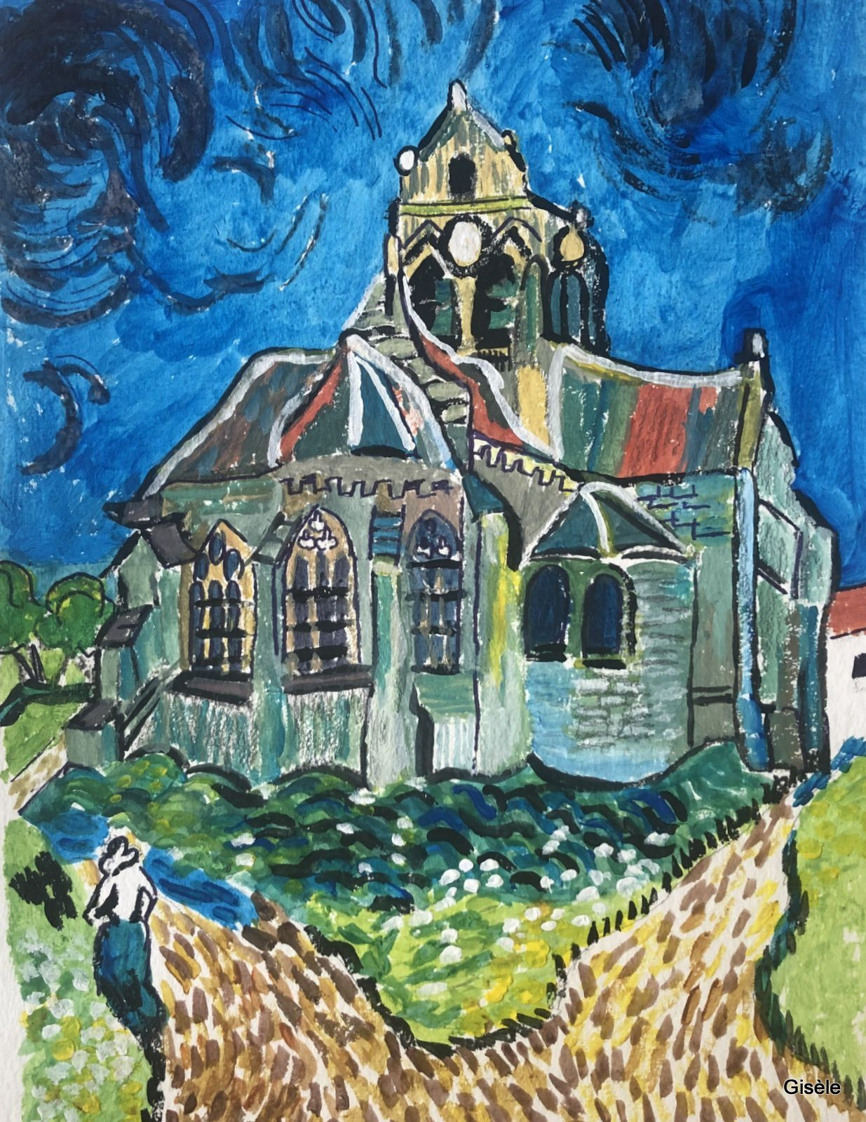 Reproduction du tableau de Van Gogh, l'église d'Auvers