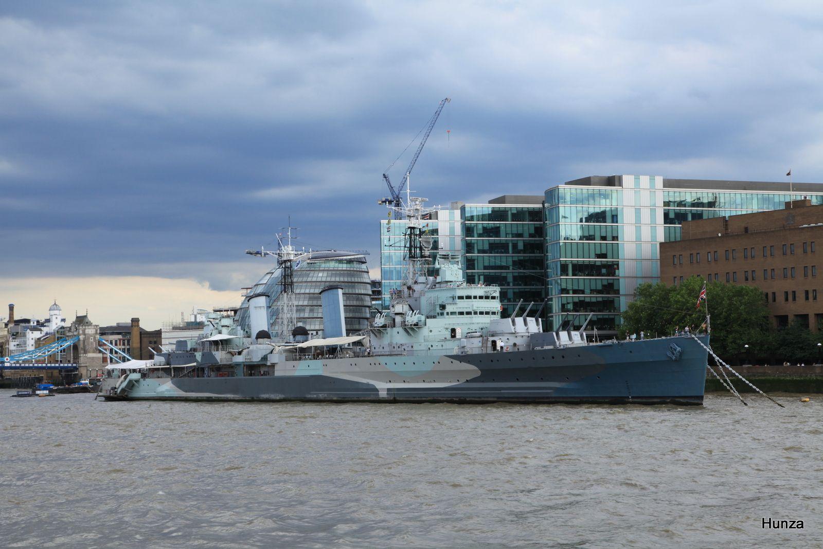Le cuirassé HMS Belfast qui a participé au débarquement de juin 1944