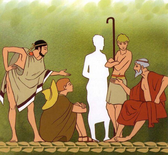 4 ) Gygès rendu invisible par l'anneau, au milieu de la foule.