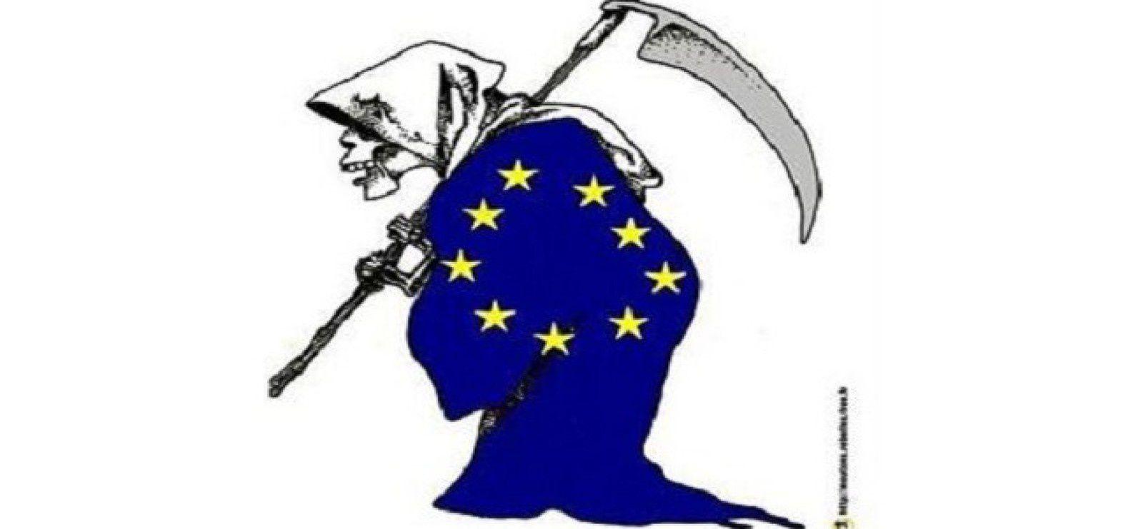 """L'Europe technocratique de Bruxelles, ou si l'on préfére """" silhouette de son maître sorcier : M. Juncker""""."""