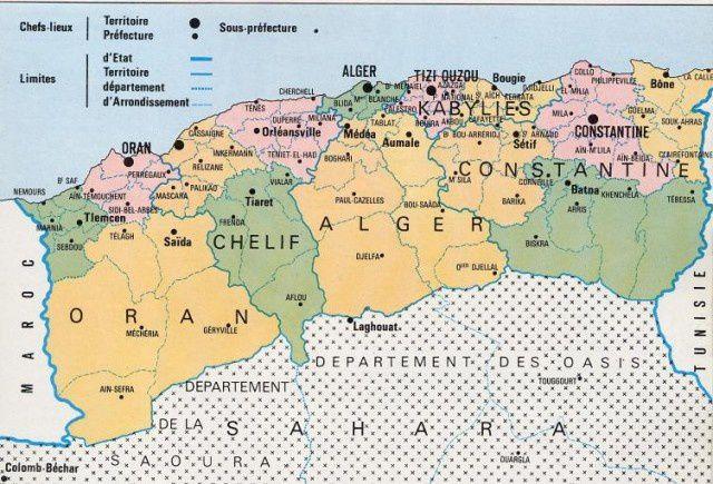 1 ) Carte de l'Algérie avant la catastrophe de 1962. 2 ) Bernard Lugan.