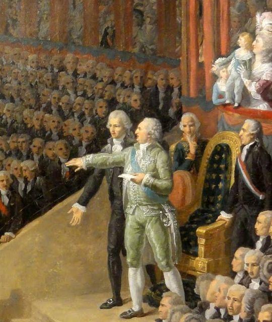 Louis XVI prétant serment sur la Constitution du royaume. Deux ans plus tard sa tête roulait dans le panier des tueurs. Macron y pensait-il ce matin sur les Champs? . C'est un esprit léger vous savez.