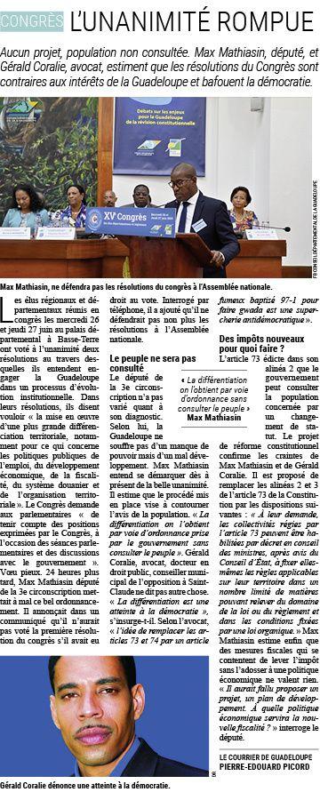 Guadeloupe: Modification statutaire, l'unanimité rompue.