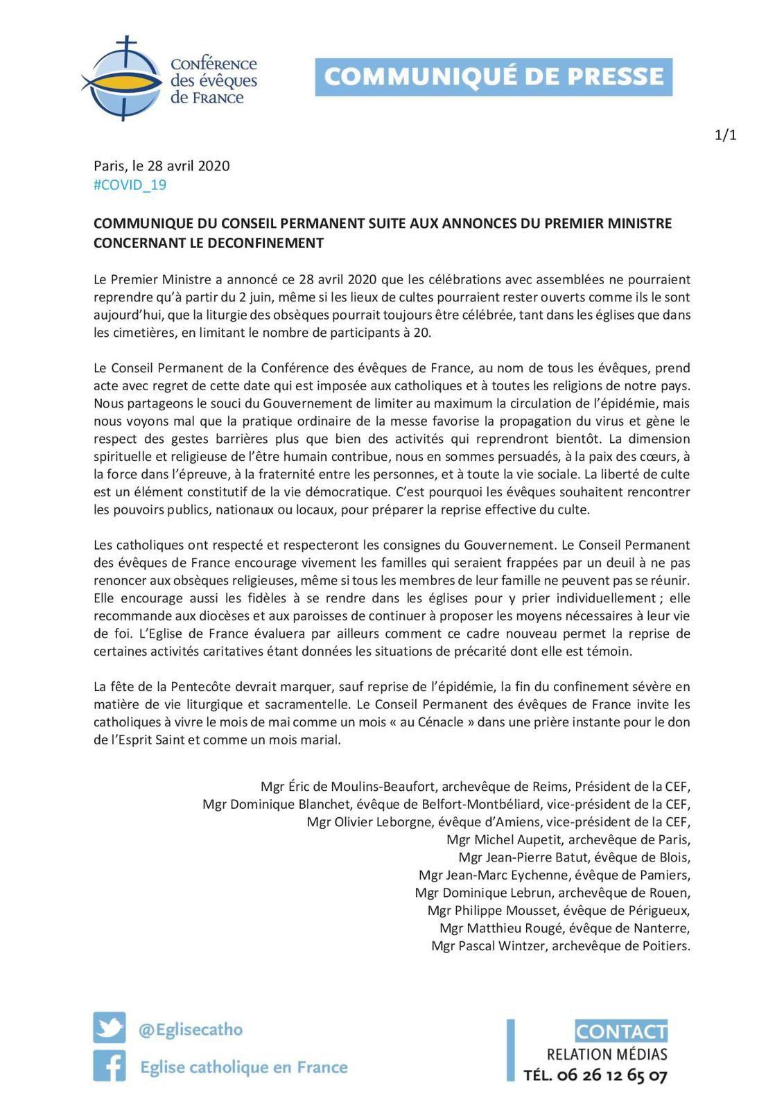 Suite aux annonces du Premier Ministre concernant le déconfinement les évêques de France réagissent.