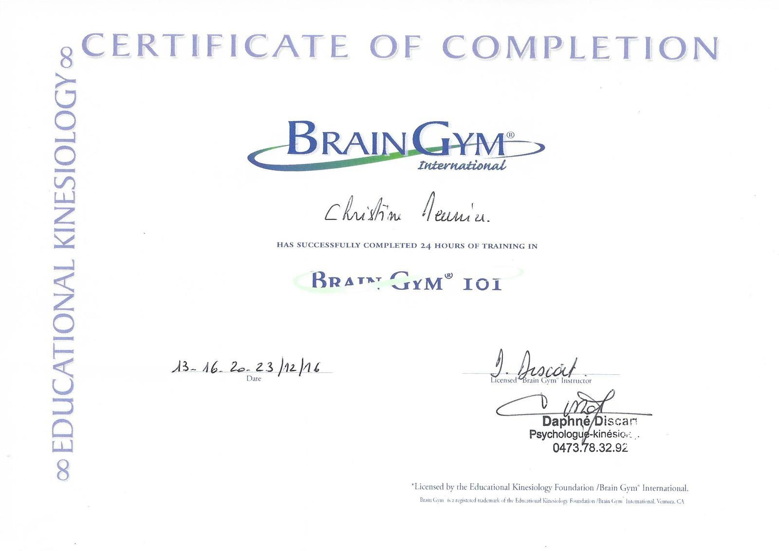 65 - Certificate of completion Brain Gym® 101