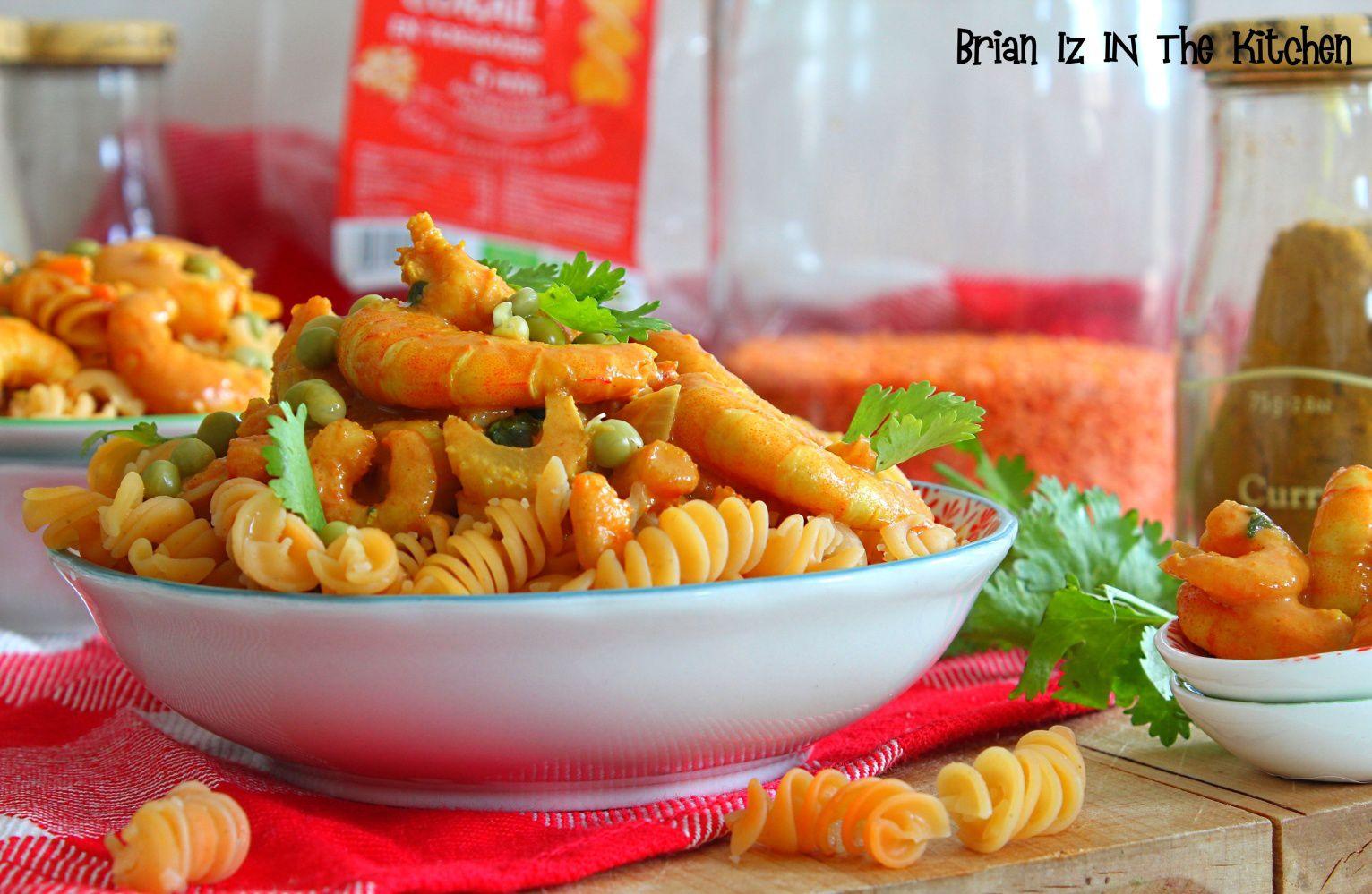 Curry de Crevettes et Lentilles Corail en torsades