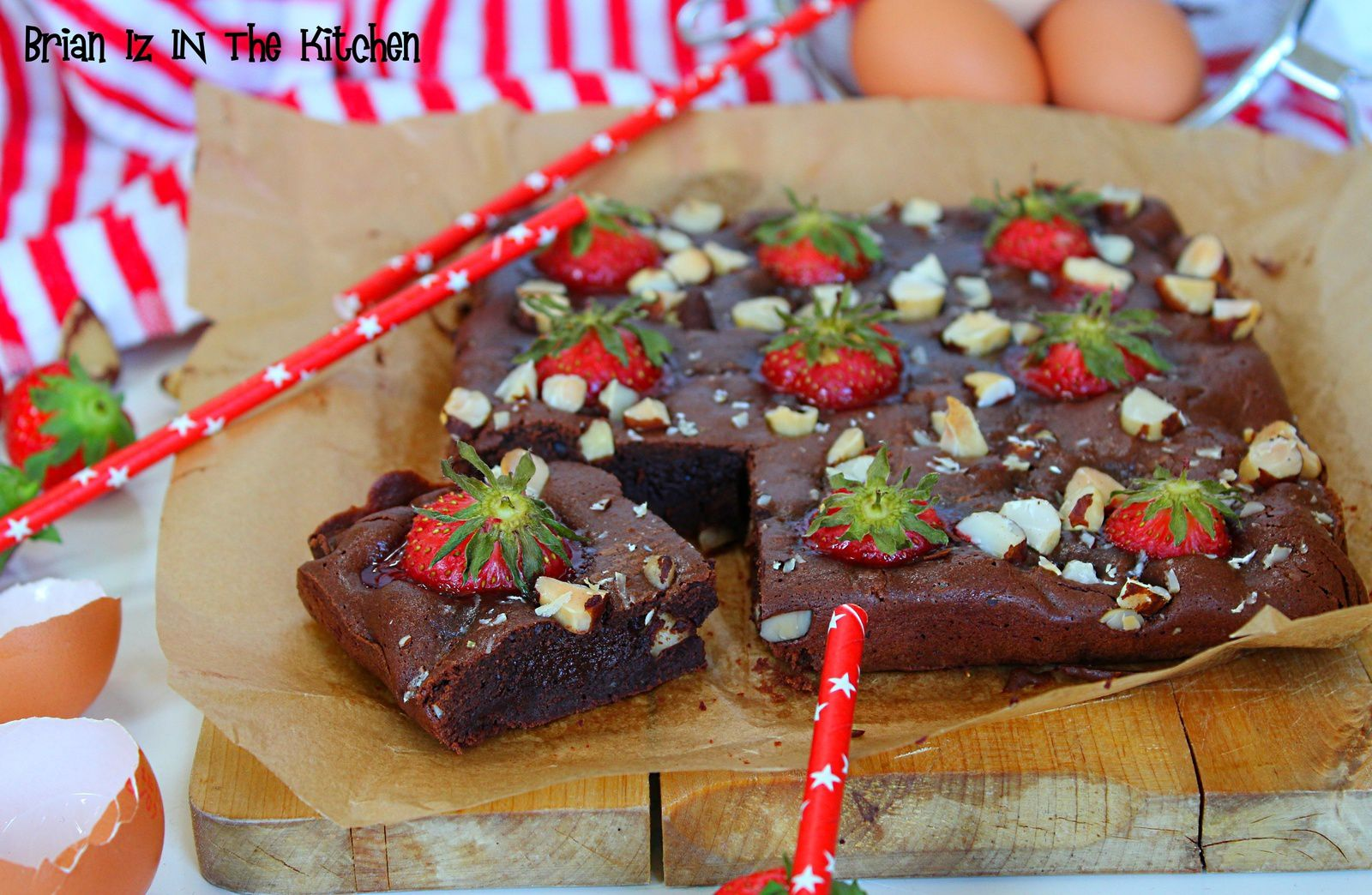 Brownie Choco-Fraises aux Noix du Brésil