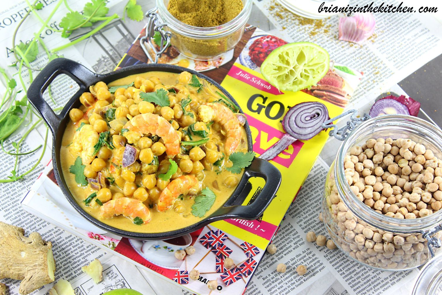 Curry de Crevettes, Pois Chiches & Epinards
