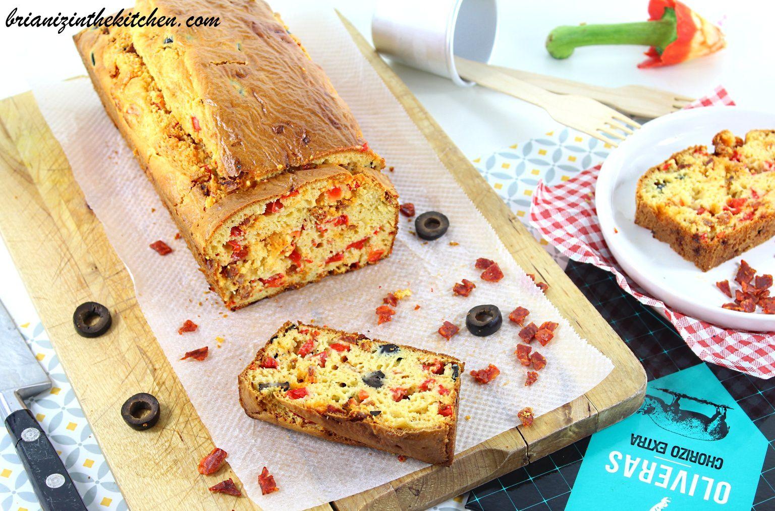 Cake Chorizo, Poivron Rouge & Olives Noires - Oliveras