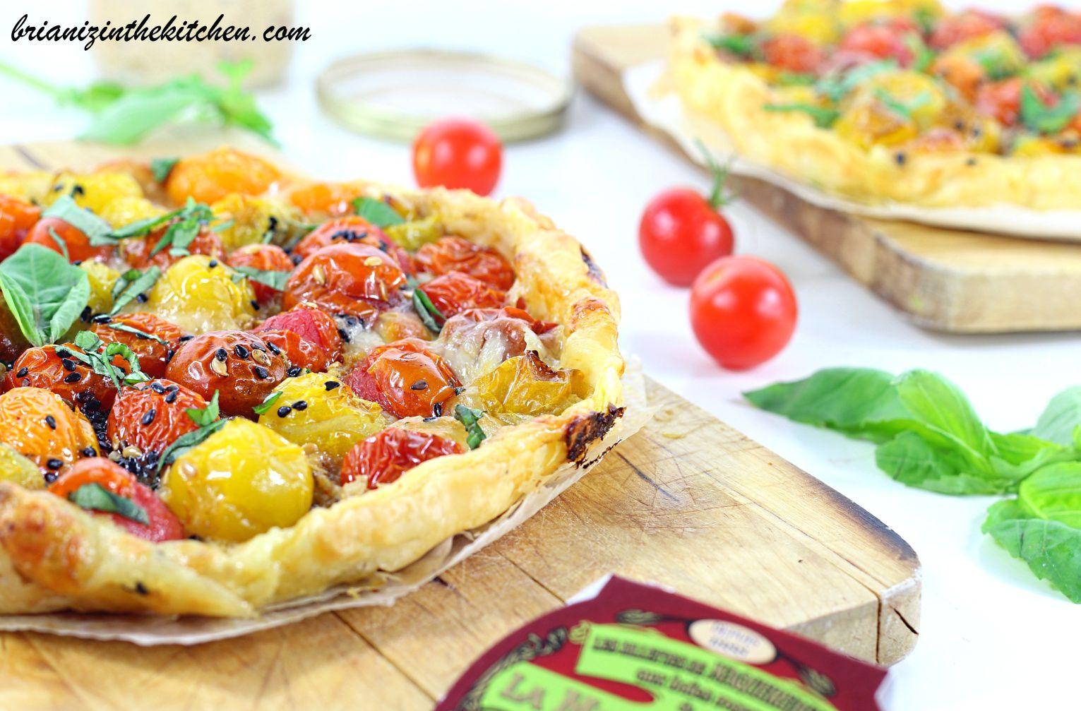 Tarte Fine Tomates Cerises, Rillettes de Maquereau, Moutarde & Mozza