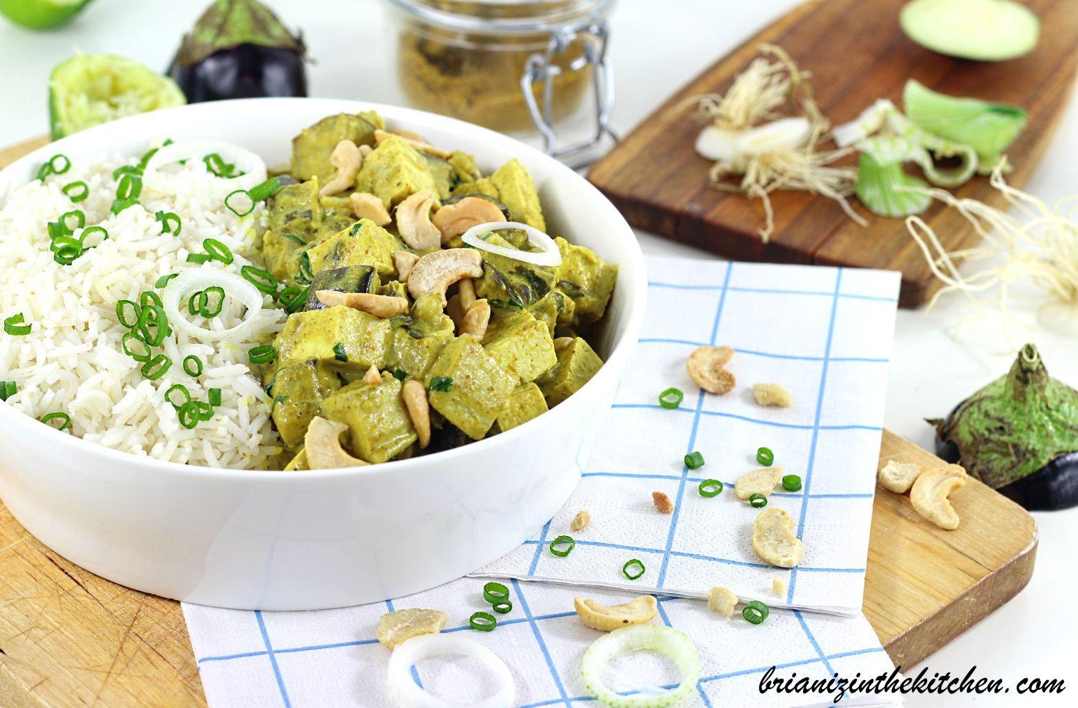 Curry d'Aubergines & Tofu {Recette Végétarienne}