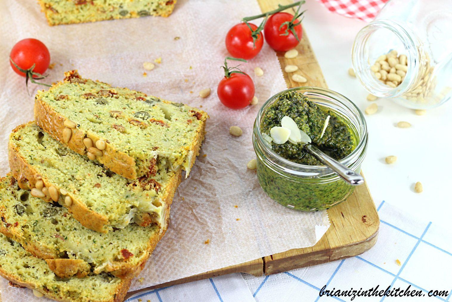 Cake au Pesto, Tomates Séchées & Câpres