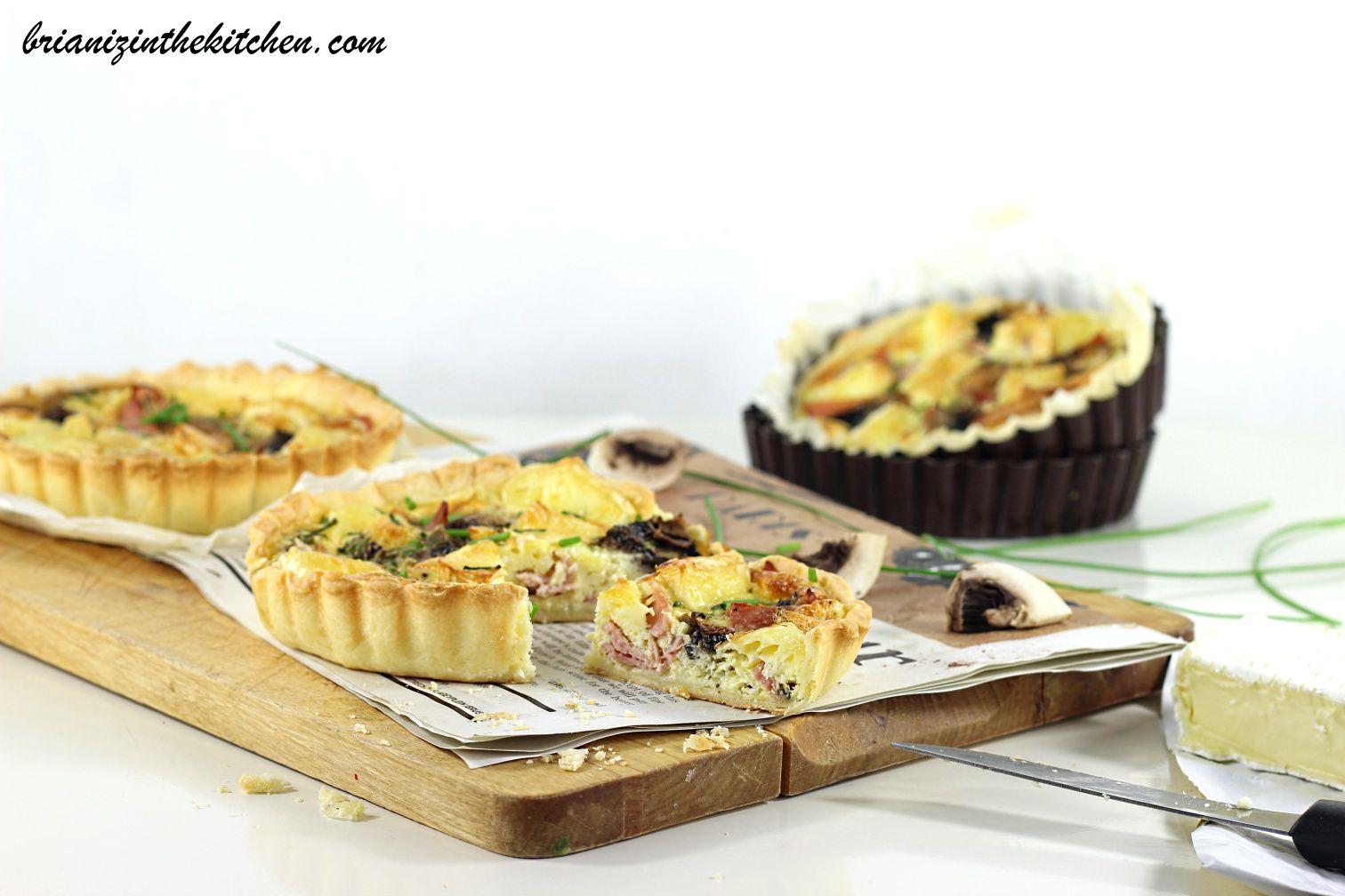 Tartelettes à la Parisienne {Jambon, Champignons & Brie}